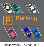 top view of a city parking lot... | Shutterstock .eps vector #647042014