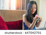 successful in saving travel... | Shutterstock . vector #647042701