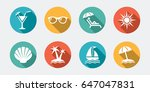 collection of summer icons with ... | Shutterstock .eps vector #647047831