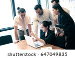 business partners discussing... | Shutterstock . vector #647049835