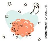 cute baby lamb cartoon t shirt... | Shutterstock .eps vector #647058841
