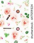 feminine beauty desk with... | Shutterstock . vector #647059324