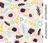 seamless hand drawn floral...   Shutterstock .eps vector #647064865