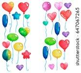 happy birthday party balloons... | Shutterstock . vector #647067265