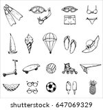 hand drawn vector set of icon... | Shutterstock .eps vector #647069329