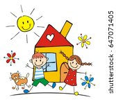 happy kids and house with cat... | Shutterstock .eps vector #647071405