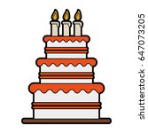 cake with wife and groom topper ... | Shutterstock .eps vector #647073205
