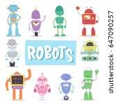 robots cute vector characters... | Shutterstock .eps vector #647090257