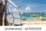 surfboard on the sanur beach ... | Shutterstock . vector #647092339