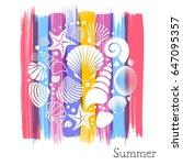 creative vintage summer card... | Shutterstock .eps vector #647095357