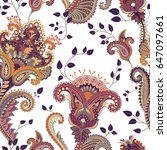 paisley floral seamless pattern.... | Shutterstock .eps vector #647097661
