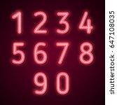 neon numbers. vector... | Shutterstock .eps vector #647108035