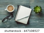 notebook with glasses and... | Shutterstock . vector #647108527