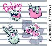 fashion patch badges with... | Shutterstock .eps vector #647109685