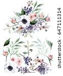 flower bouquet with elements | Shutterstock . vector #647111314