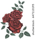 red  roses     vector art  | Shutterstock .eps vector #647113195
