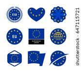 european union flag  emblem and ... | Shutterstock .eps vector #647115721