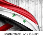 syria  flag of silk with... | Shutterstock . vector #647118304