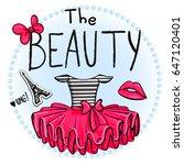 girlish pink skirt  t shirt... | Shutterstock .eps vector #647120401