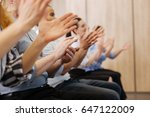 close up of peoples hands... | Shutterstock . vector #647122009