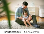 single father wit his daughter... | Shutterstock . vector #647126941