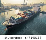 aerial view of cargo ship ... | Shutterstock . vector #647140189