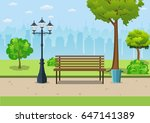bench with tree and lantern in... | Shutterstock .eps vector #647141389