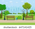 bench with tree and lantern in... | Shutterstock .eps vector #647141425