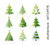 christmas tree set | Shutterstock .eps vector #64714978