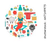 knitting. a set of elements... | Shutterstock .eps vector #647149975
