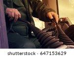 control tractor levers. toned | Shutterstock . vector #647153629