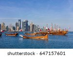 traditional arabic dhow boats... | Shutterstock . vector #647157601