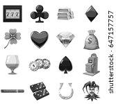 casino icons set in monochrome... | Shutterstock . vector #647157757