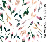 watercolor bud repeat pattern.... | Shutterstock . vector #647162815