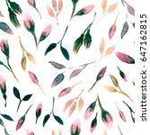 watercolor bud repeat pattern.... | Shutterstock . vector #647162815