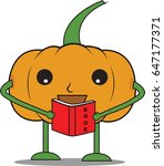 pumpkin man is reading a book   Shutterstock .eps vector #647177371