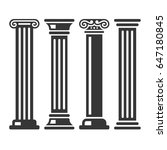 ancient columns icon set on... | Shutterstock . vector #647180845