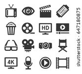 movie cinema icons set on white ... | Shutterstock . vector #647180875