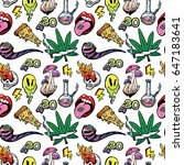 stoned trippy drug theme and... | Shutterstock .eps vector #647183641