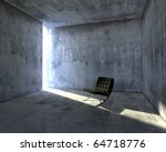 3d designers chair in concrete... | Shutterstock . vector #64718776