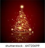 abstract gold christmas tree ... | Shutterstock .eps vector #64720699