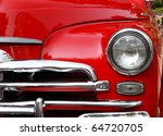 Red Retro Car Headlight