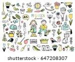 big collection of garden... | Shutterstock .eps vector #647208307