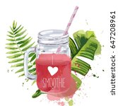 i love smoothie. smoothie jar... | Shutterstock .eps vector #647208961