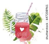 i love smoothie. smoothie jar... | Shutterstock .eps vector #647208961