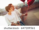 young couple in love dating and ... | Shutterstock . vector #647209561