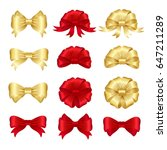 red and gold ribbon bows set.  | Shutterstock . vector #647211289