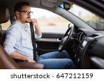 fasten the car seat belt.... | Shutterstock . vector #647212159