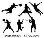 set of disc golf silhouette | Shutterstock .eps vector #647223091