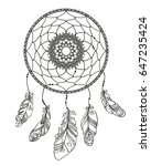 hand drawn dreamcatcher with... | Shutterstock .eps vector #647235424